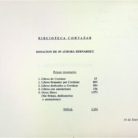 Biblioteca Cortázar – Donación de Da Aurora Bernárdez